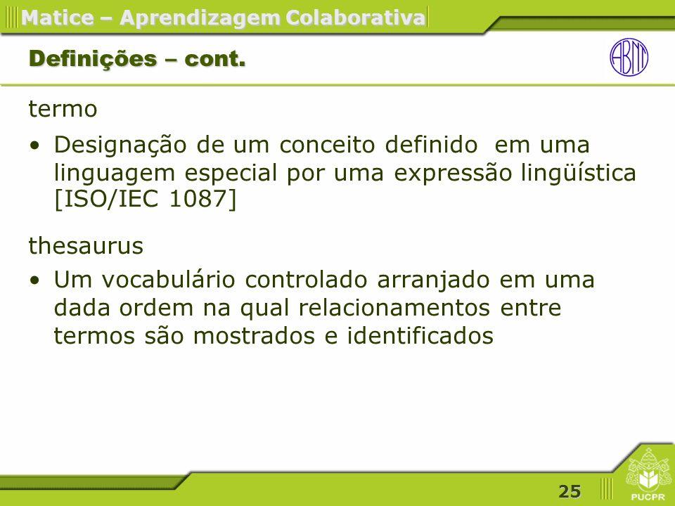 Definições – cont. termo Designação de um conceito definido em uma linguagem especial por uma expressão lingüística [ISO/IEC 1087]